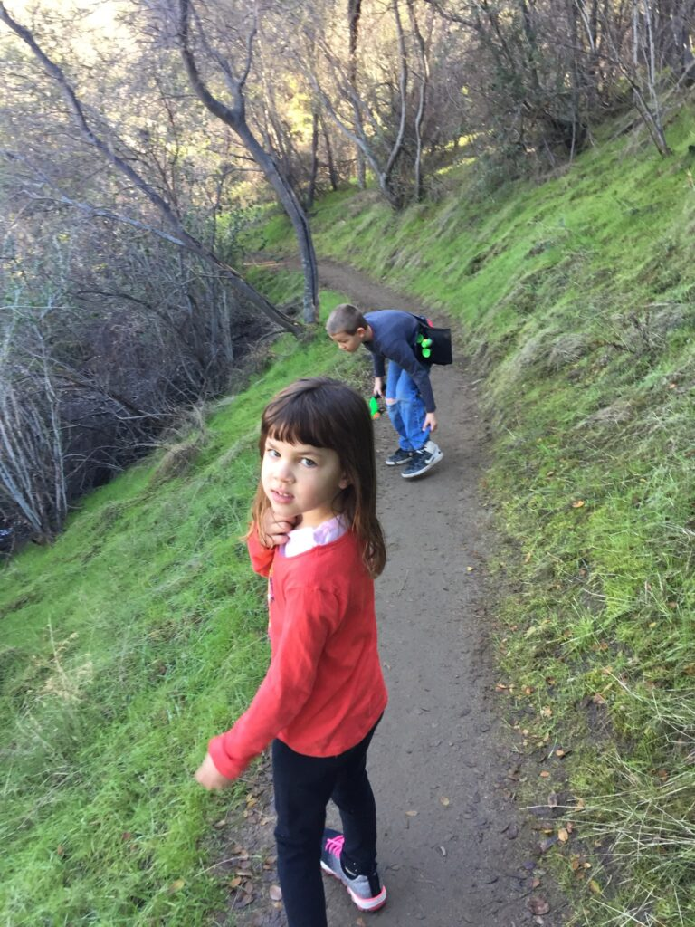 kids on a hiking trail in the mountians