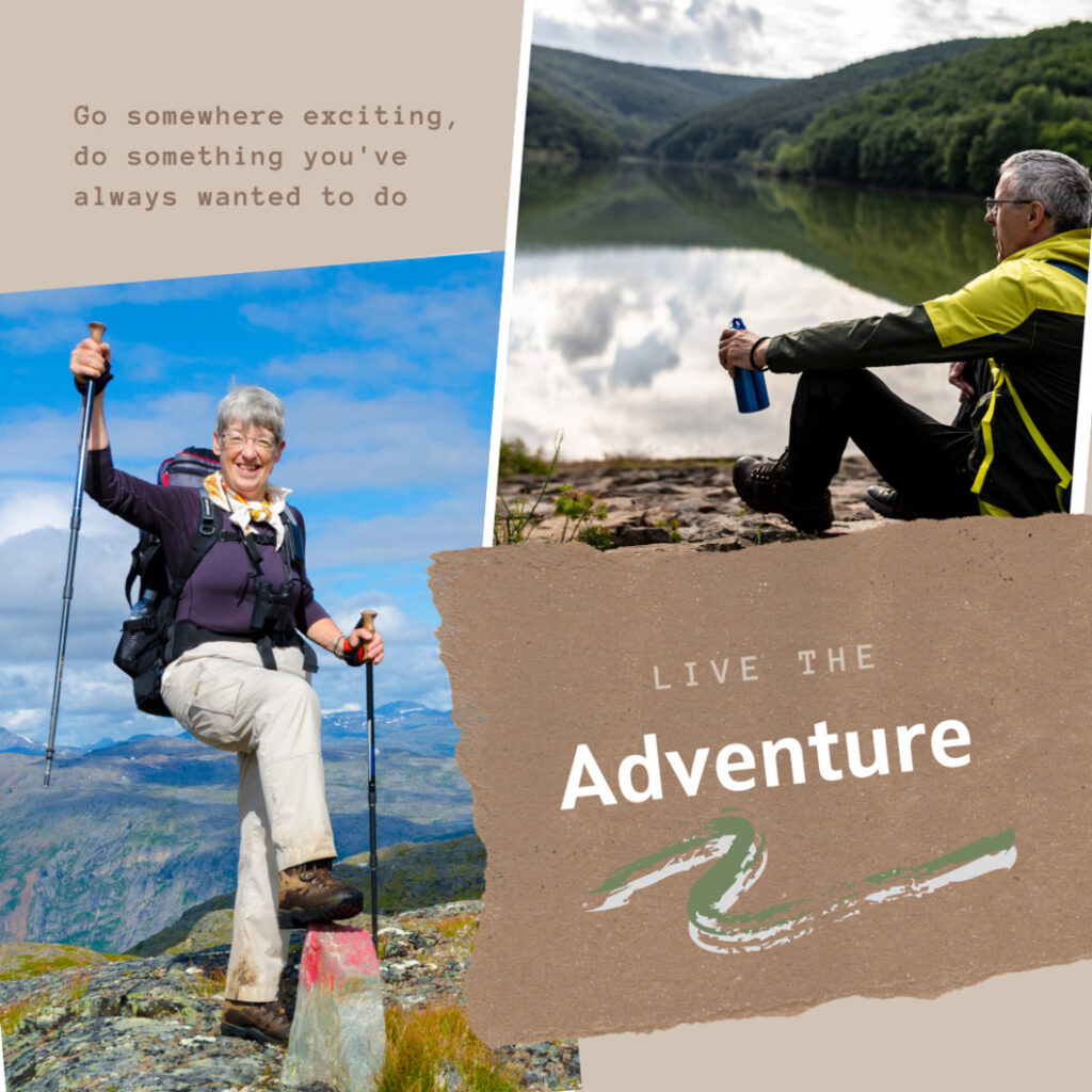 older woman with hiking poles and an older man drinking water with the live the adventure.words