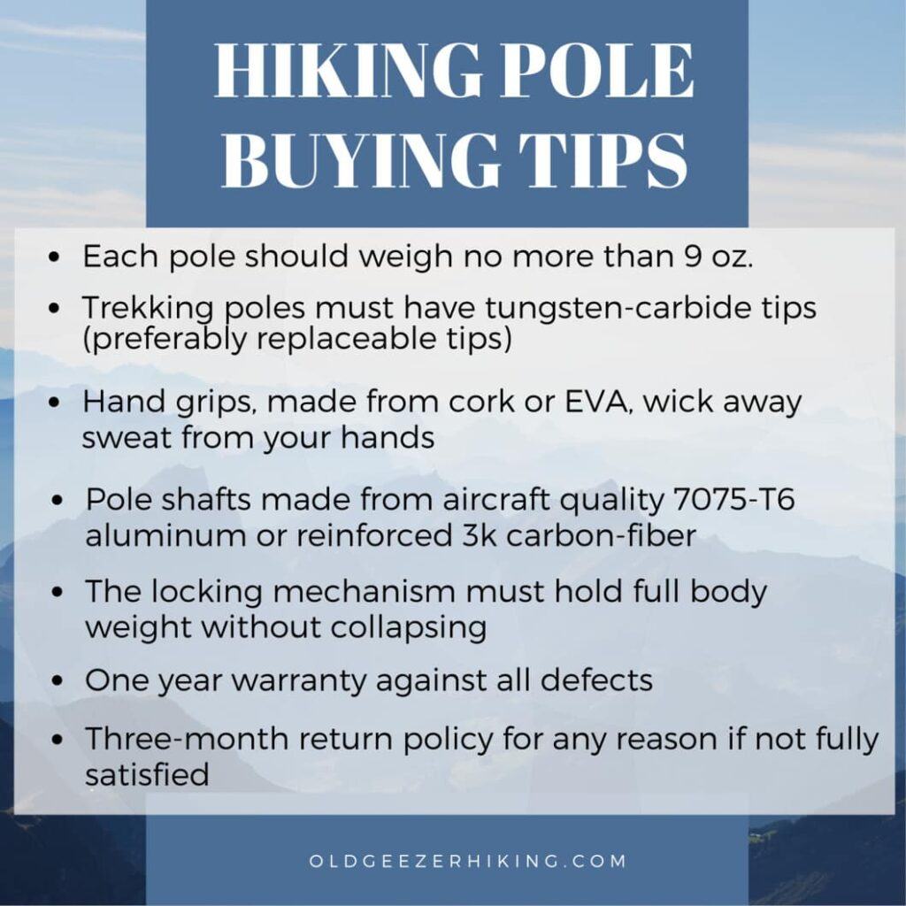 list of hiking pole buying tips