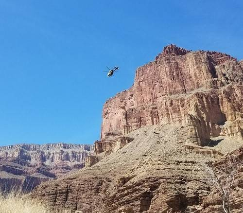 helicopter rescue of hiker in the Grand Canyon.