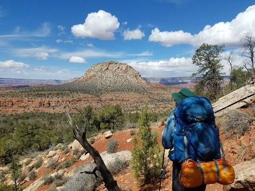 backpacker viewing Mt Huethawali in the grand canyon..