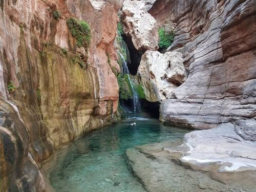 rocks surrounding a woman swimming in river in the Grand Canyon