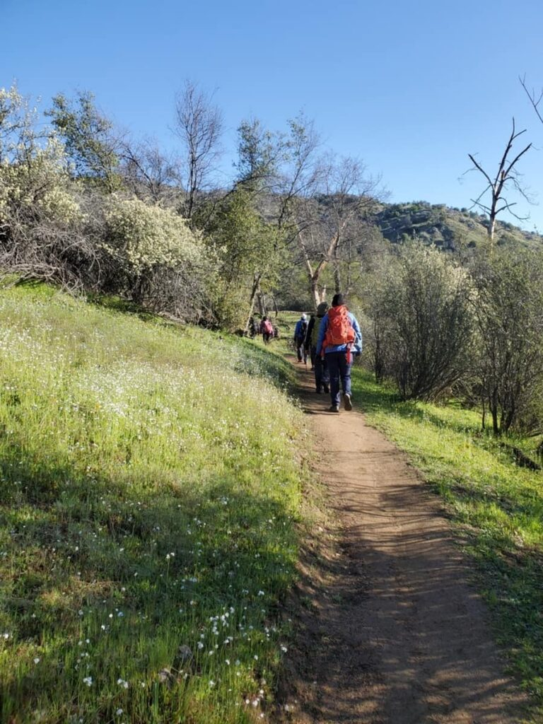 people hiking on a trail in the spring
