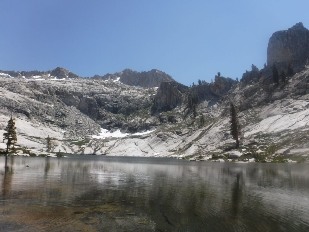 Mountains, water and Pear Lake in Sequoia National Park.