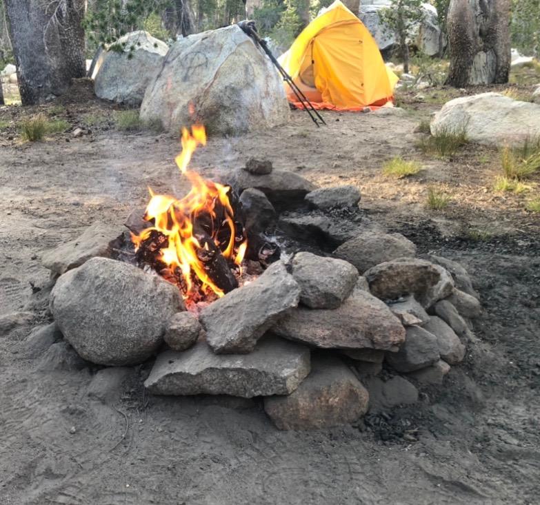 Campfire in Dinkey Creek Wilderness in California, USA.