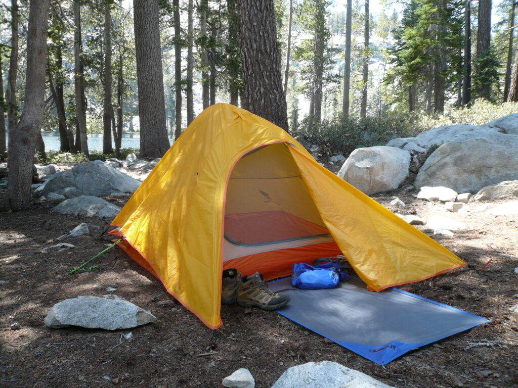 backpacking tent in the mountains.